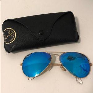 Ray ban blue reflection aviator sunglasses